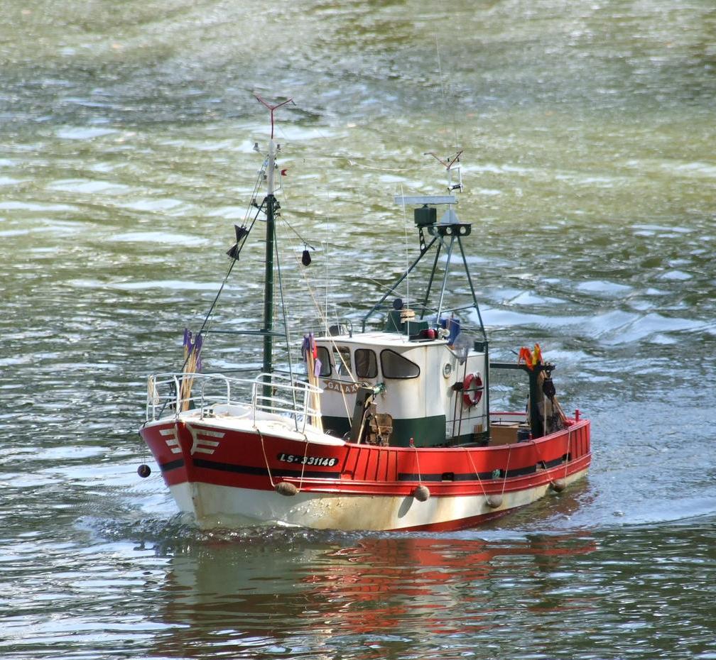Bateau de pêche radicommandé rouge et blanc en navigation